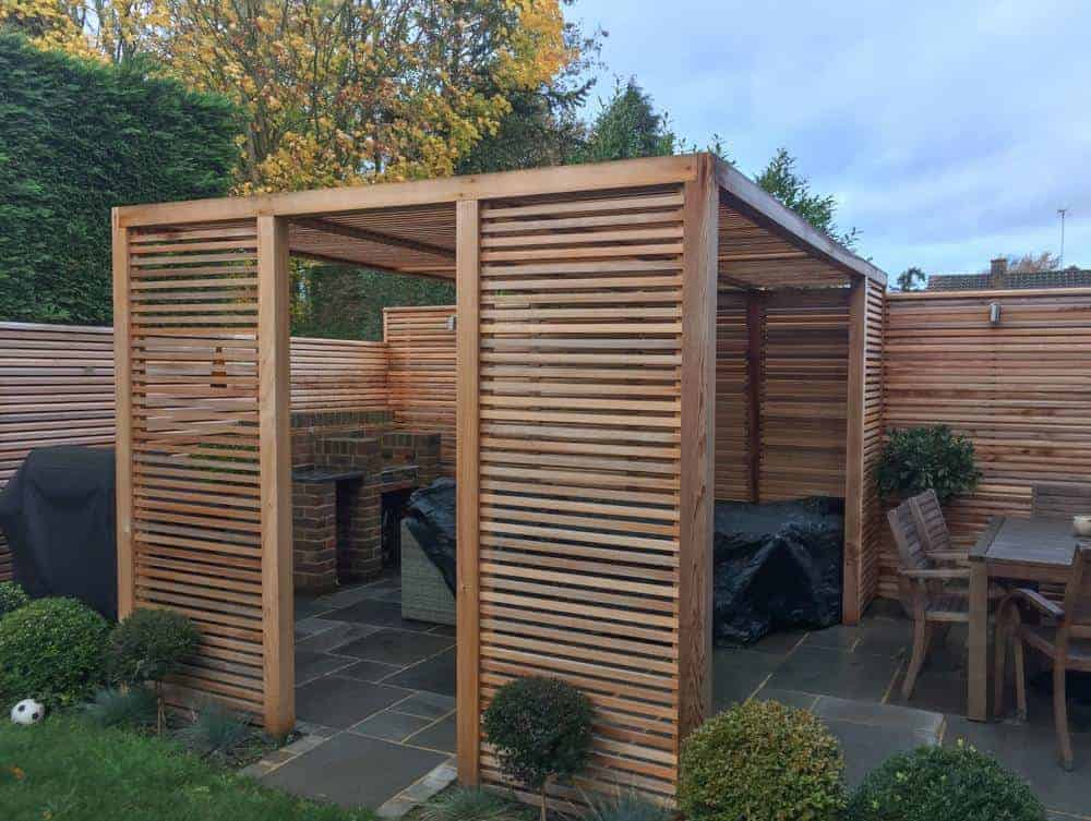 A lovely contemporary cedar gazebo